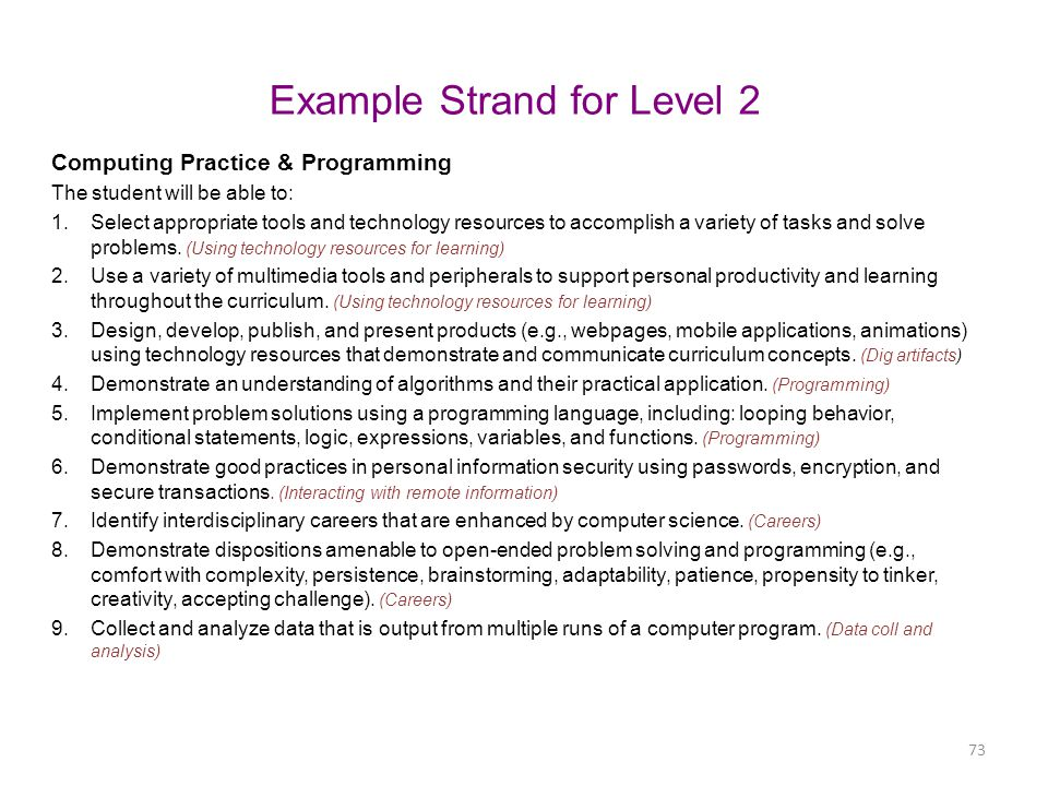 Example Strand for Level 2