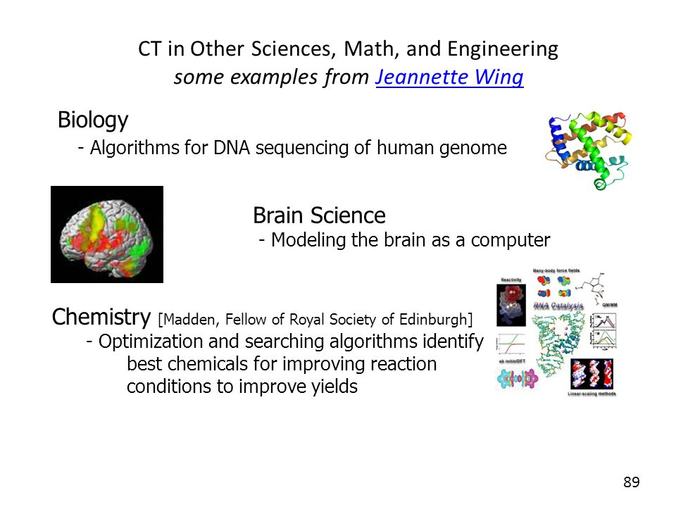 CT in Other Sciences, Math, and Engineering some examples from Jeannette Wing