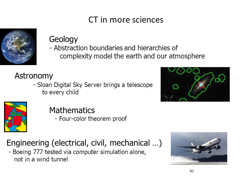 CT in more sciences Geology - Abstraction boundaries and hierarchies of complexity model the earth and our atmosphere.