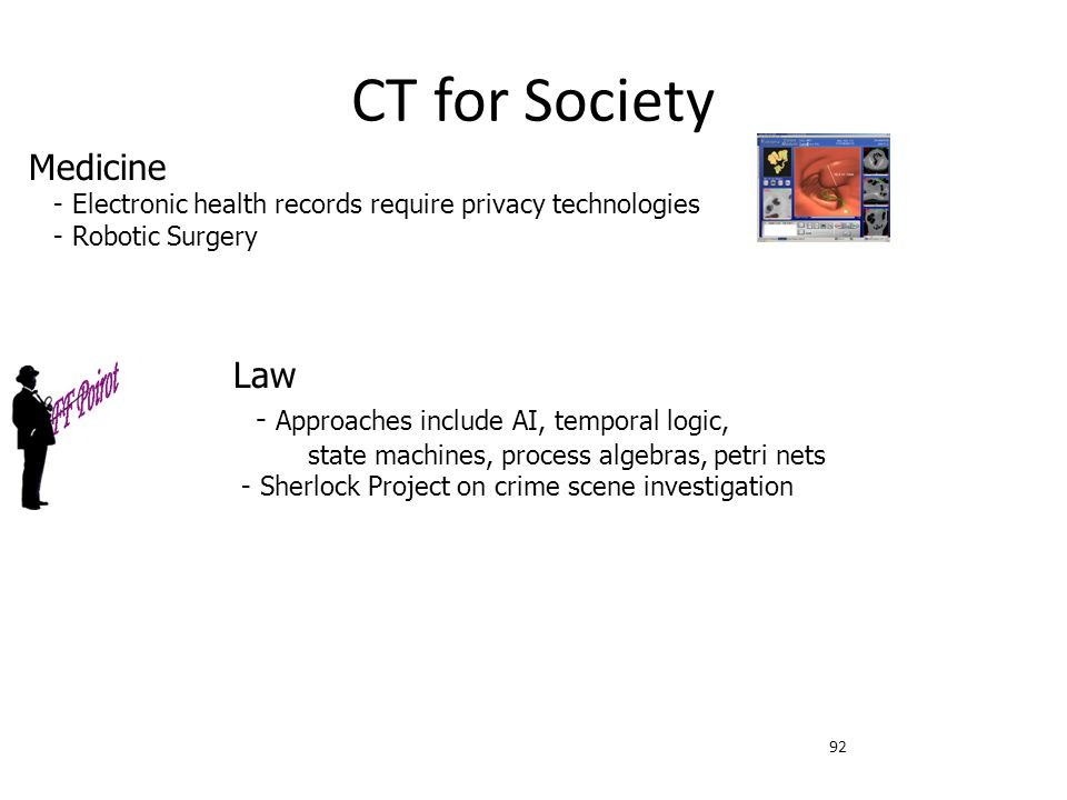 CT for Society Medicine - Electronic health records require privacy technologies. - Robotic Surgery.