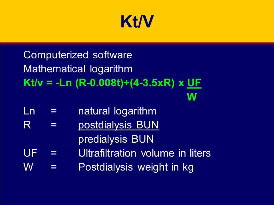 Kt/V Computerized software Mathematical logarithm