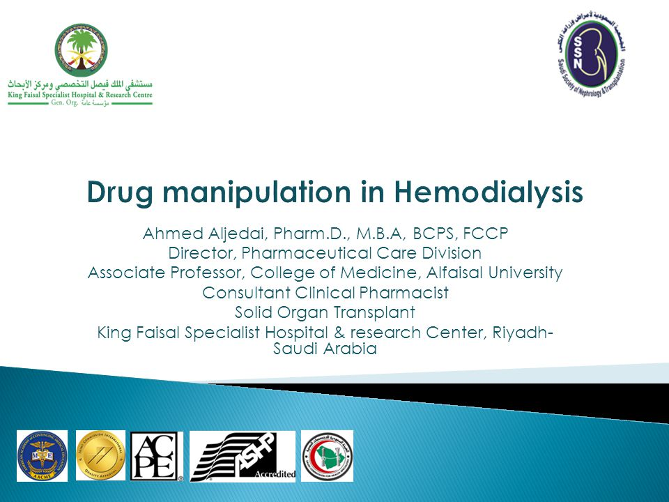 Drug manipulation in Hemodialysis