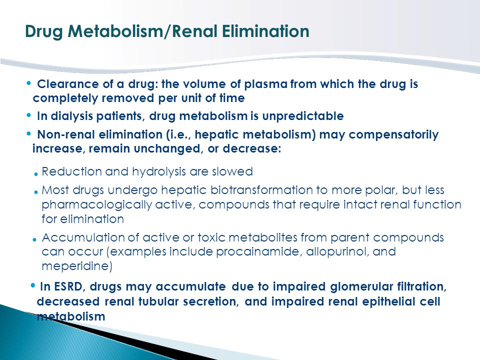 Drug Metabolism/Renal Elimination