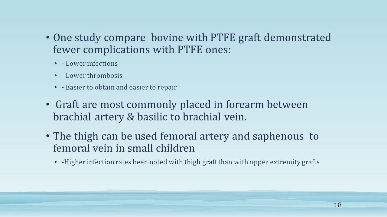 One study compare bovine with PTFE graft demonstrated fewer complications with PTFE ones:
