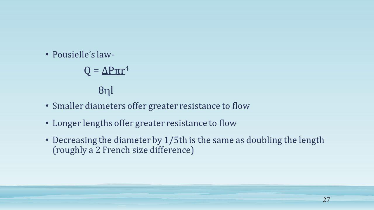 Q = ∆Pπr4 8l Pousielle's law-