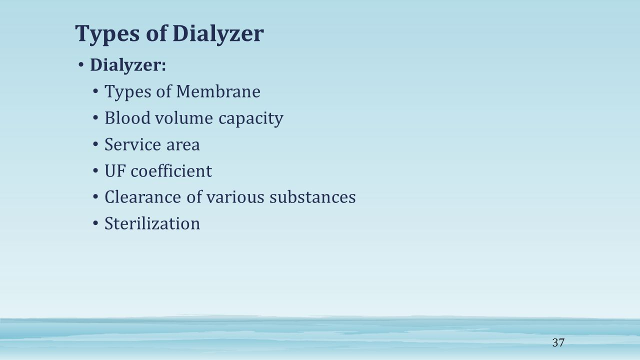 Types of Dialyzer Dialyzer: Types of Membrane Blood volume capacity