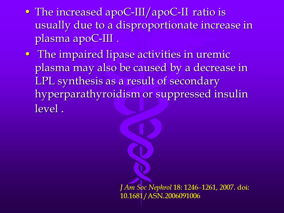 The increased apoC-III/apoC-II ratio is usually due to a disproportionate increase in plasma apoC-III .
