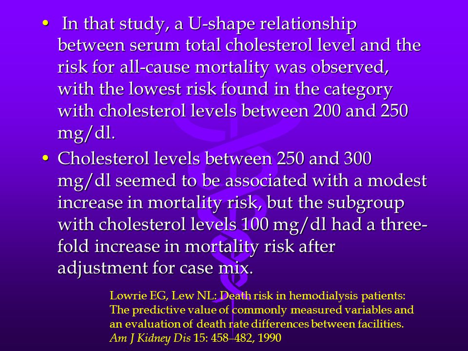 In that study, a U-shape relationship between serum total cholesterol level and the risk for all-cause mortality was observed, with the lowest risk found in the category with cholesterol levels between 200 and 250 mg/dl.