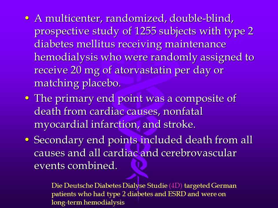 A multicenter, randomized, double-blind, prospective study of 1255 subjects with type 2 diabetes mellitus receiving maintenance hemodialysis who were randomly assigned to receive 20 mg of atorvastatin per day or matching placebo.
