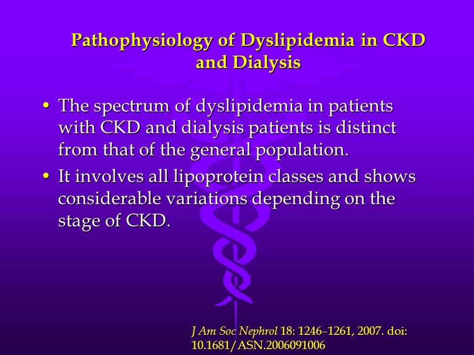 Pathophysiology of Dyslipidemia in CKD and Dialysis