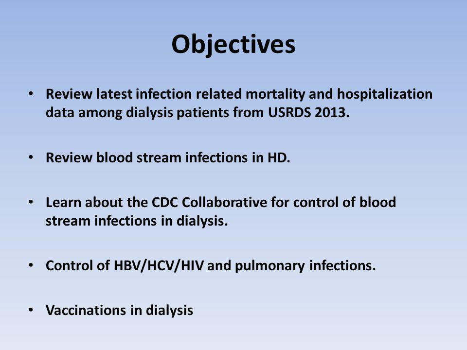 Objectives Review latest infection related mortality and hospitalization data among dialysis patients from USRDS 2013.
