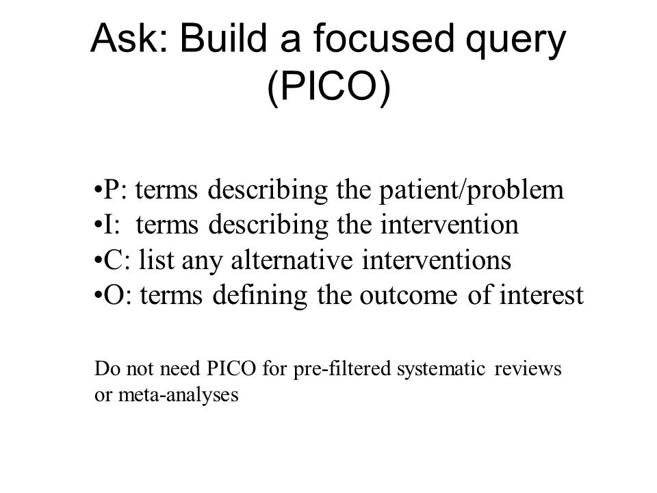 Ask: Build a focused query (PICO)