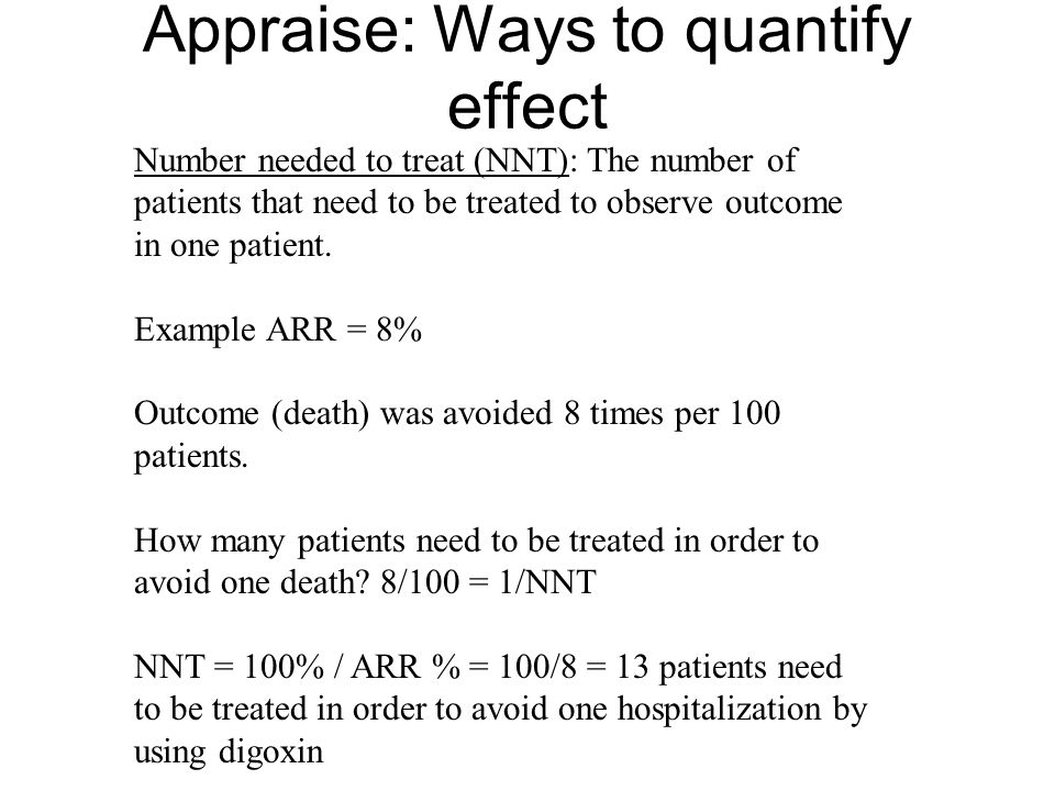 Appraise: Ways to quantify effect