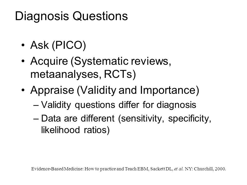 Diagnosis Questions Ask (PICO)