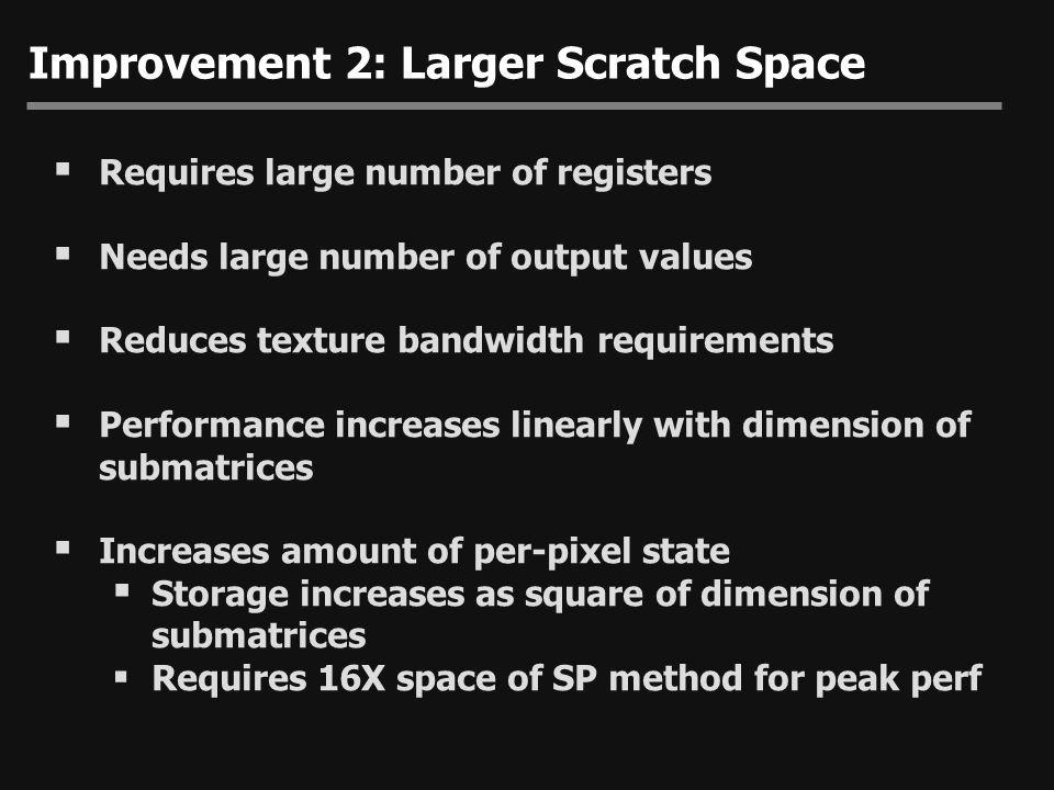 Improvement 2: Larger Scratch Space
