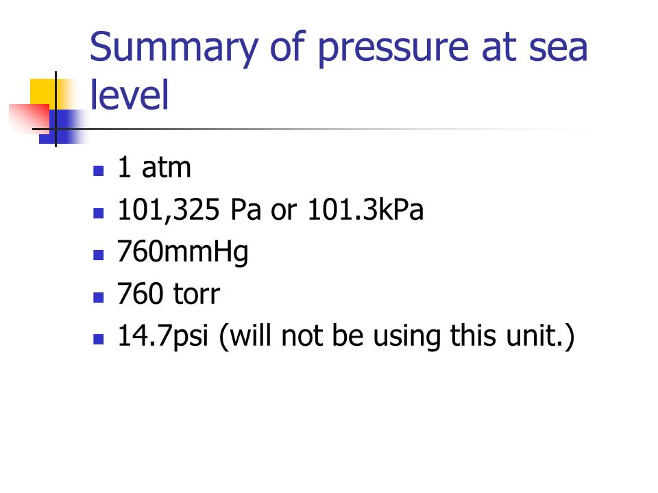 Summary of pressure at sea level