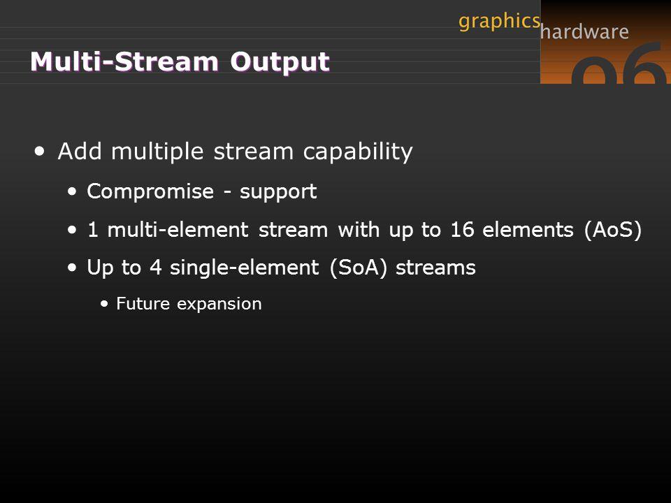 Multi-Stream Output Add multiple stream capability