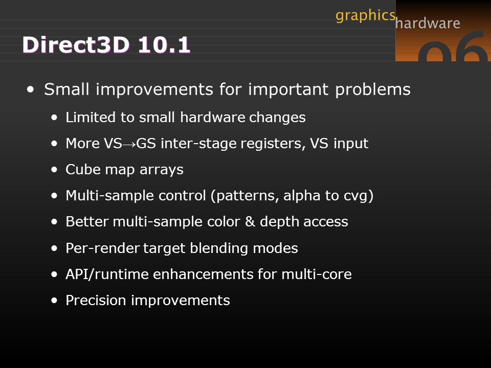 Direct3D 10.1 Small improvements for important problems