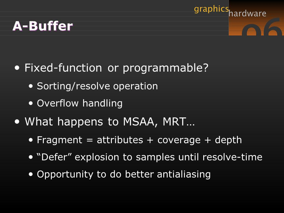 A-Buffer Fixed-function or programmable What happens to MSAA, MRT…