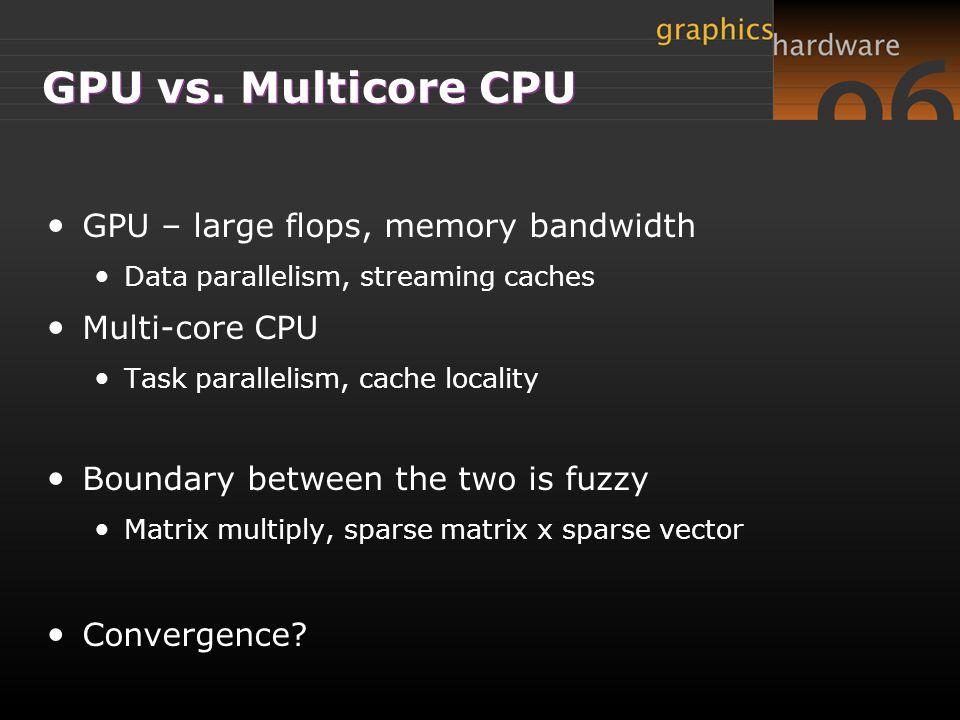 GPU vs. Multicore CPU GPU – large flops, memory bandwidth