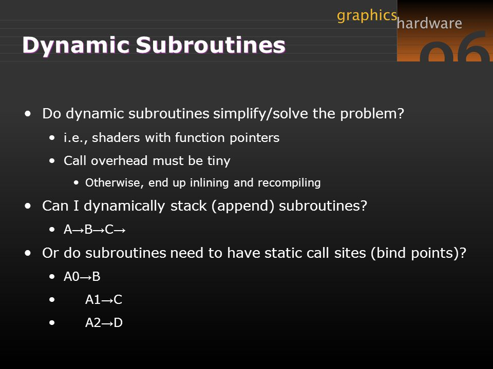Dynamic Subroutines Do dynamic subroutines simplify/solve the problem