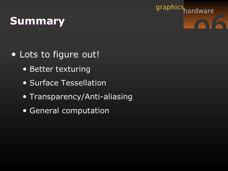 Summary Lots to figure out! Better texturing Surface Tessellation