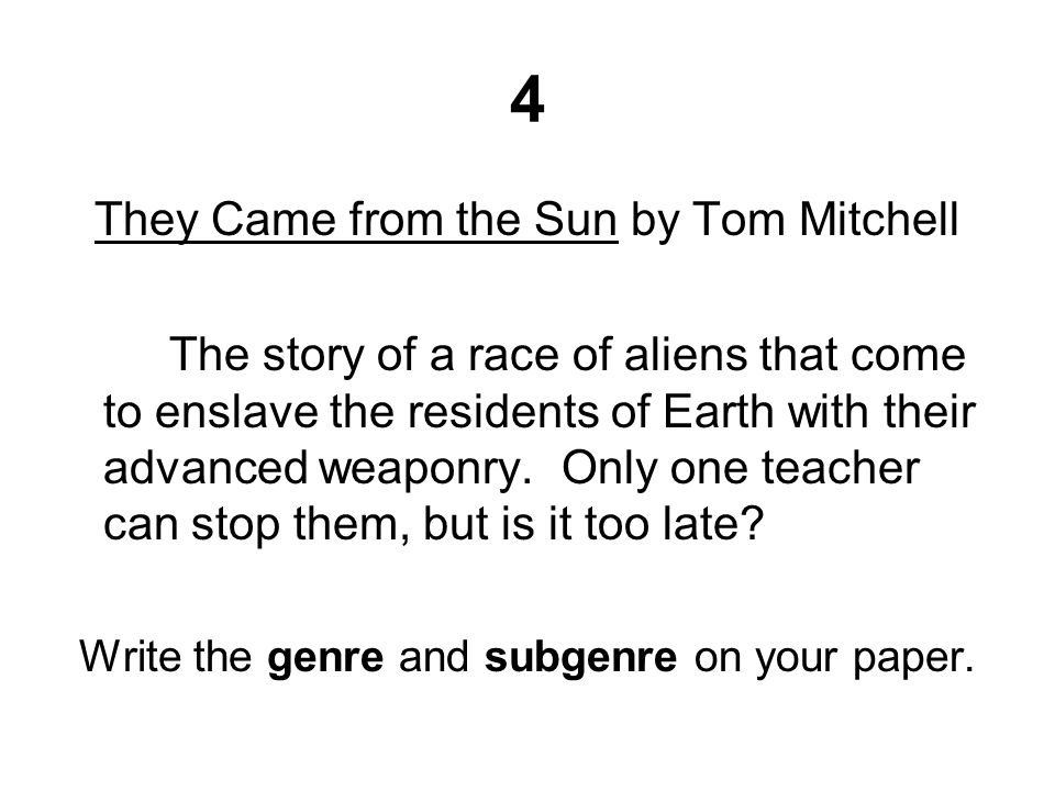 4 They Came from the Sun by Tom Mitchell