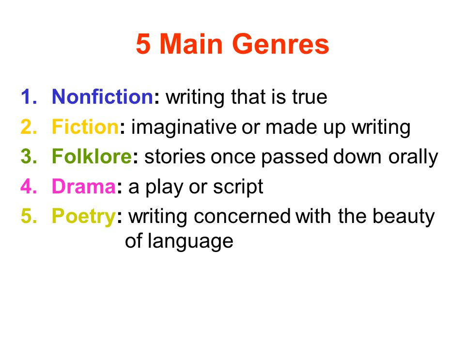 5 Main Genres Nonfiction: writing that is true