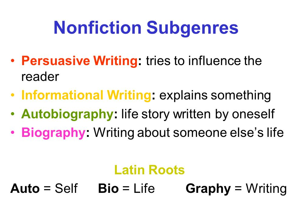 Nonfiction Subgenres Persuasive Writing: tries to influence the reader
