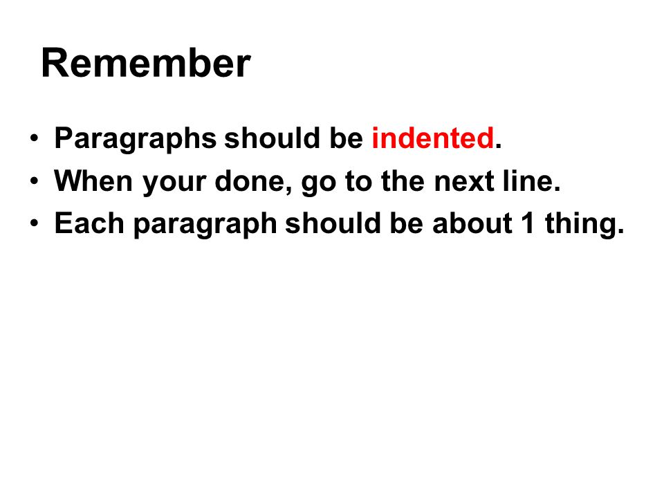 Remember Paragraphs should be indented.