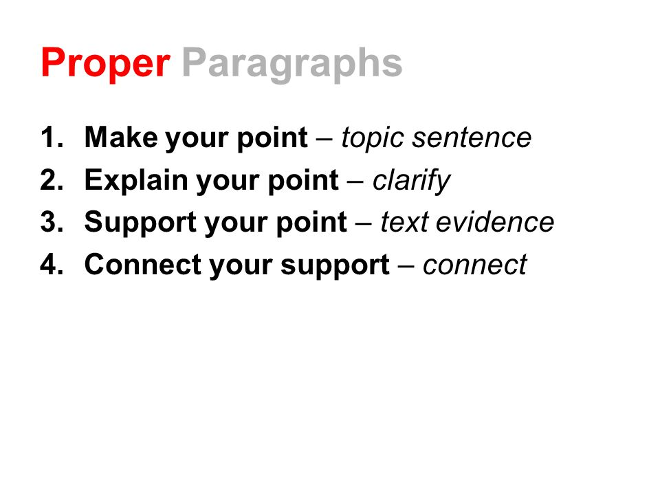 Proper Paragraphs Make your point – topic sentence