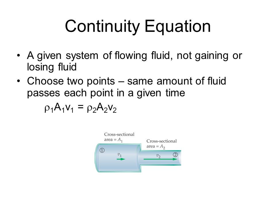 Continuity EquationA given system of flowing fluid, not gaining or losing fluid.