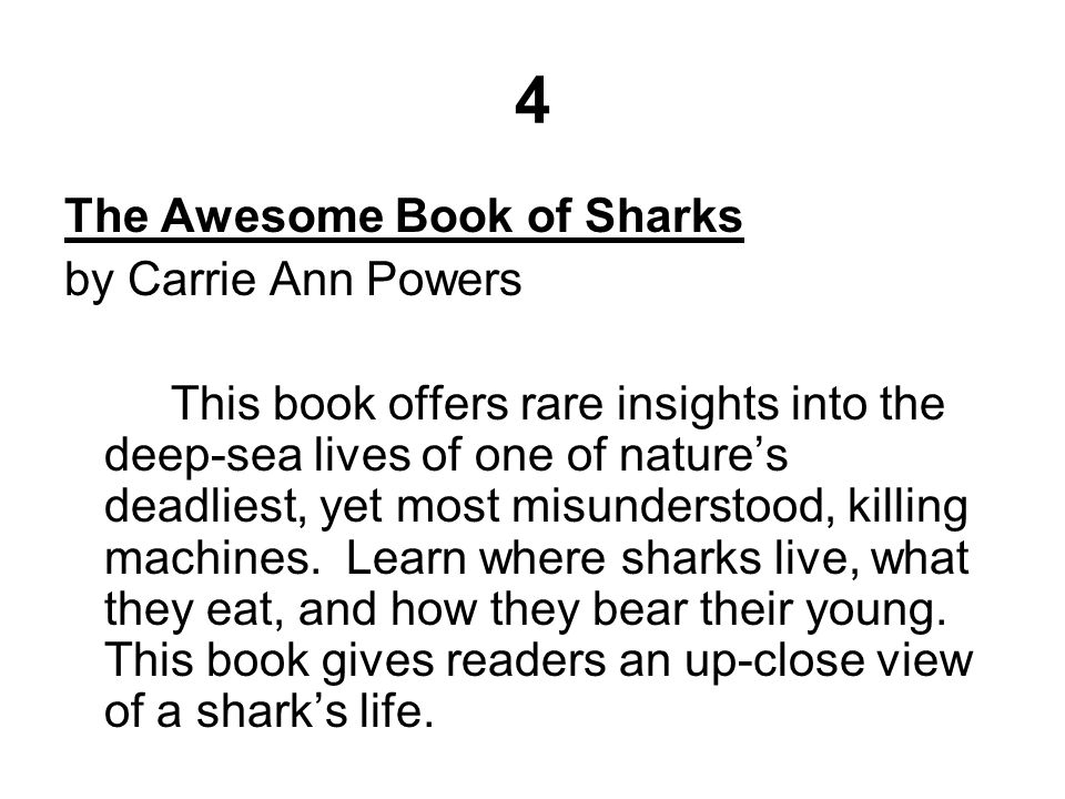 4 The Awesome Book of Sharks by Carrie Ann Powers