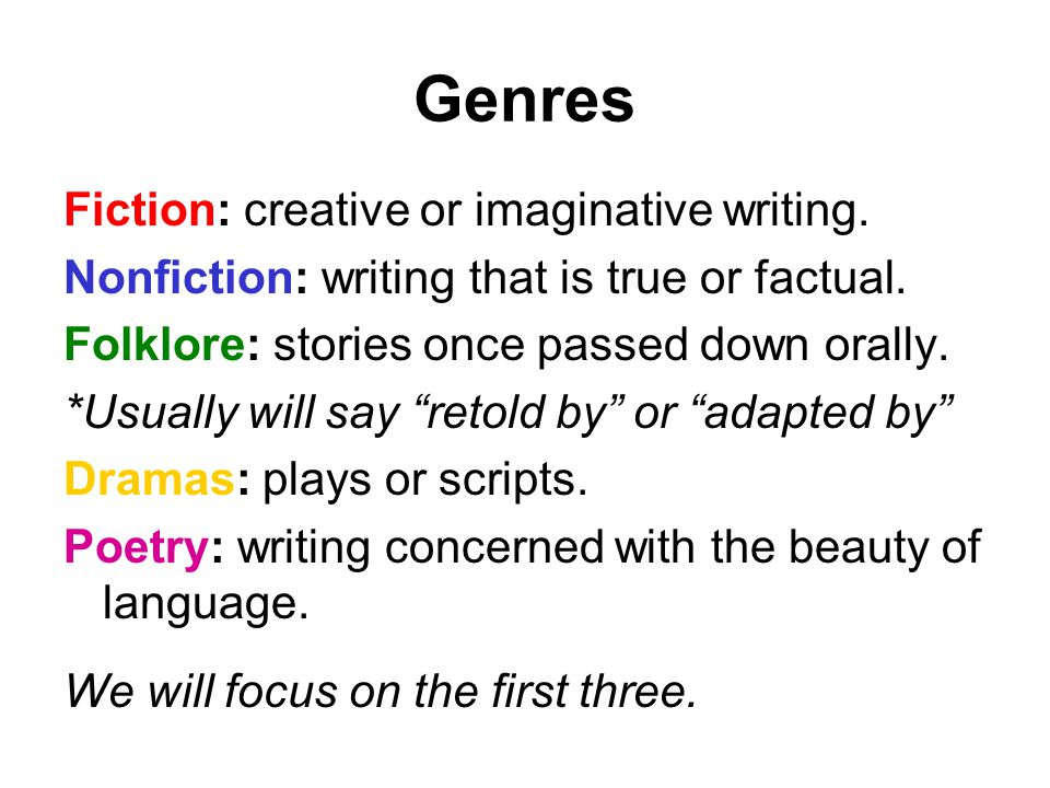 Genres Fiction: creative or imaginative writing.