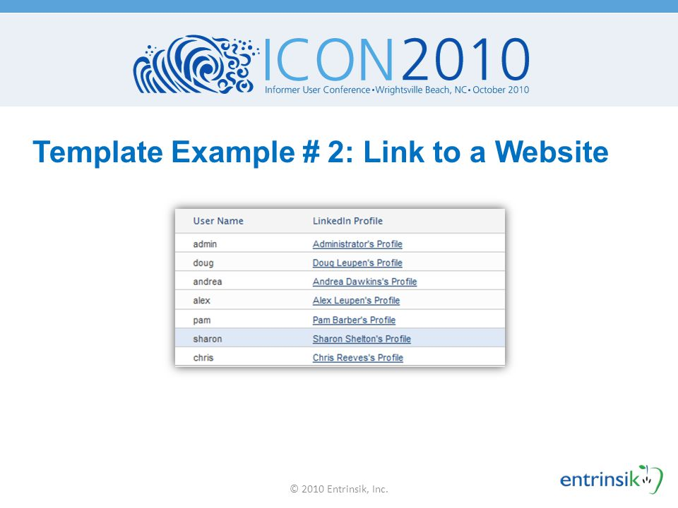 Template Example # 2: Link to a Website