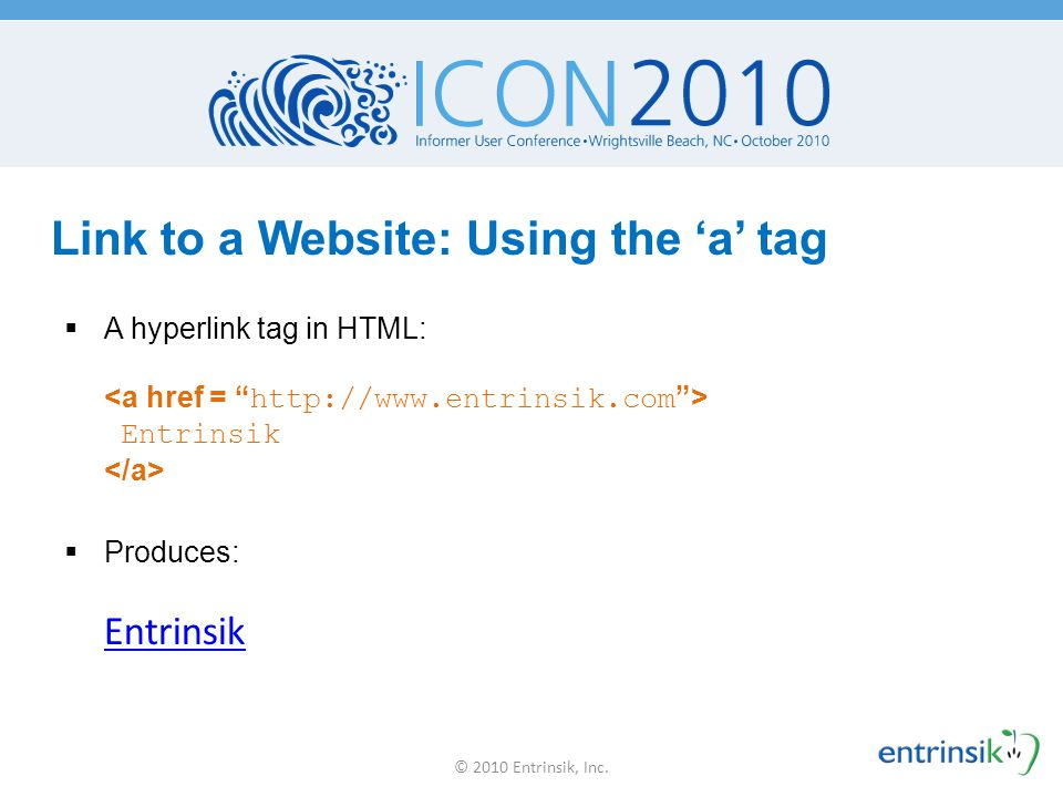 Link to a Website: Using the 'a' tag