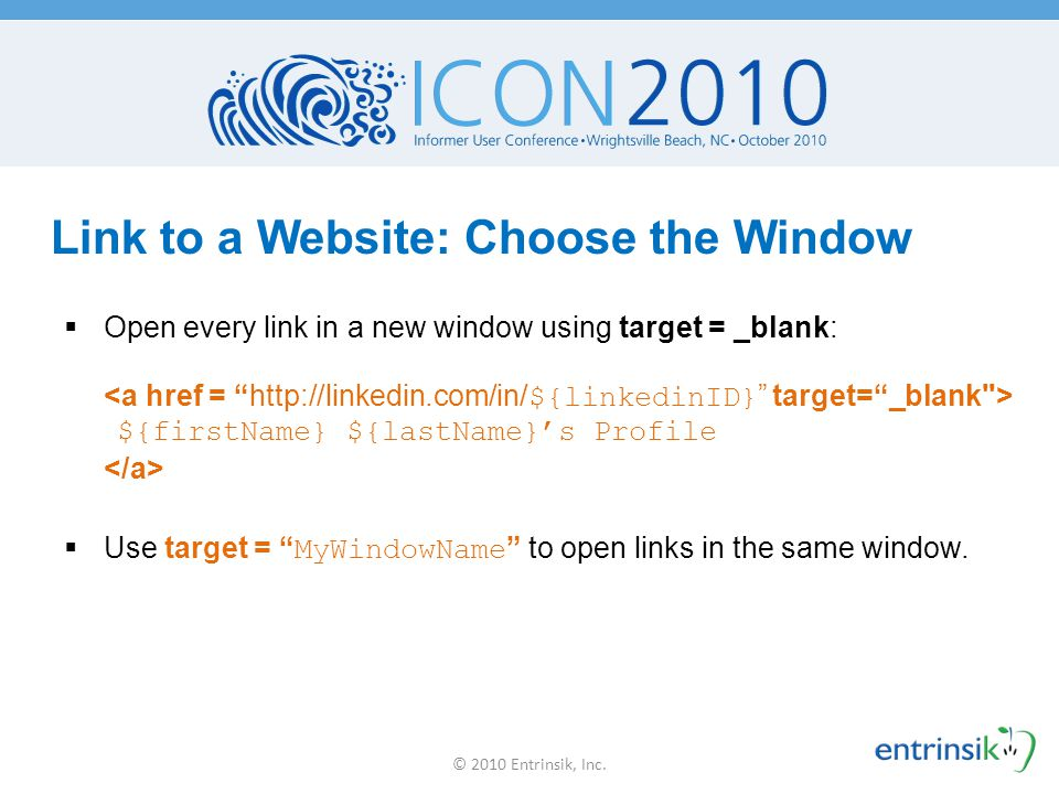 Link to a Website: Choose the Window