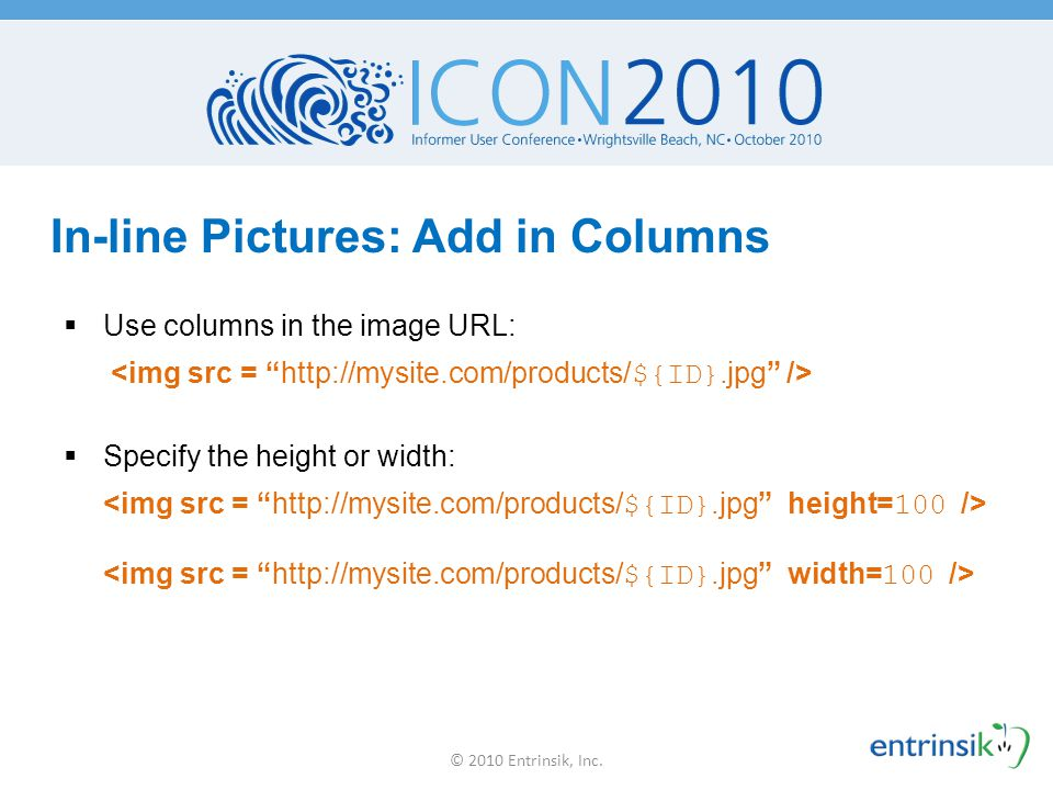 In-line Pictures: Add in Columns