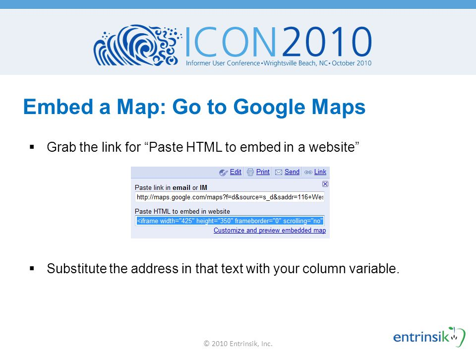 Embed a Map: Go to Google Maps
