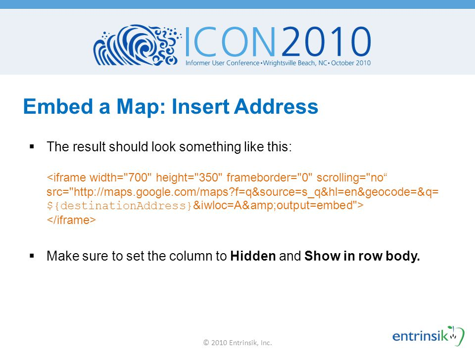Embed a Map: Insert Address