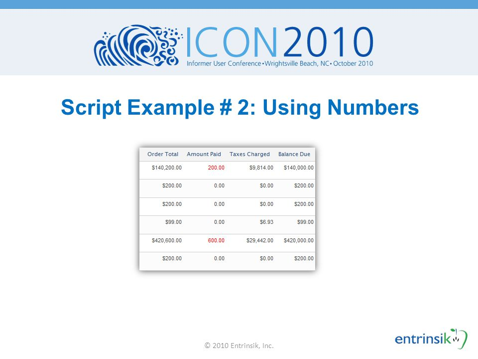 Script Example # 2: Using Numbers