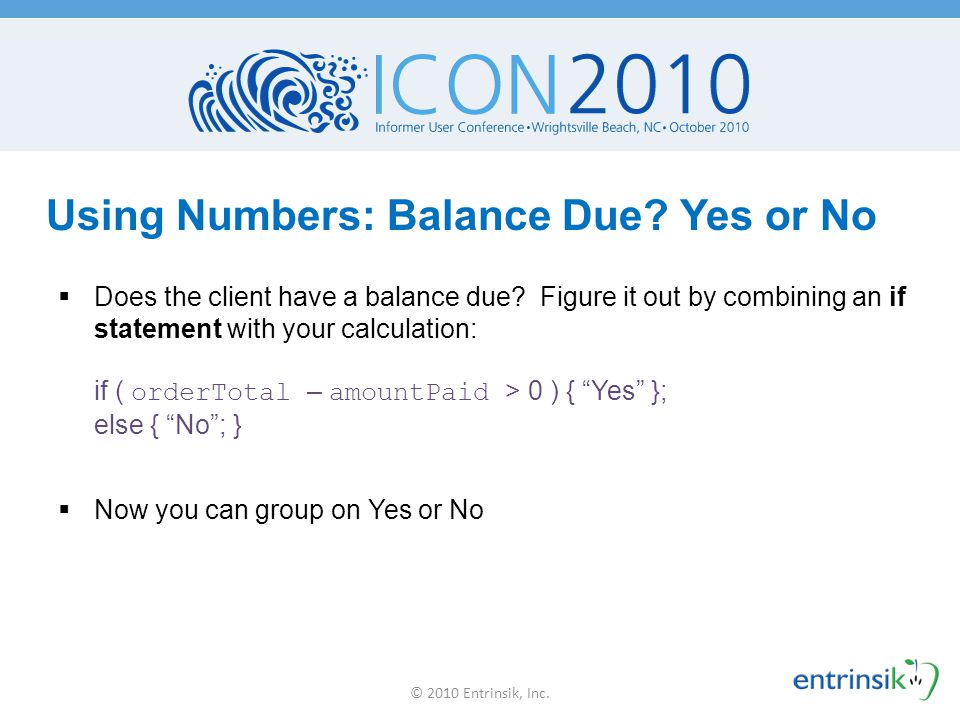 Using Numbers: Balance Due Yes or No