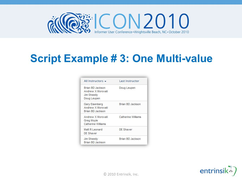 Script Example # 3: One Multi-value