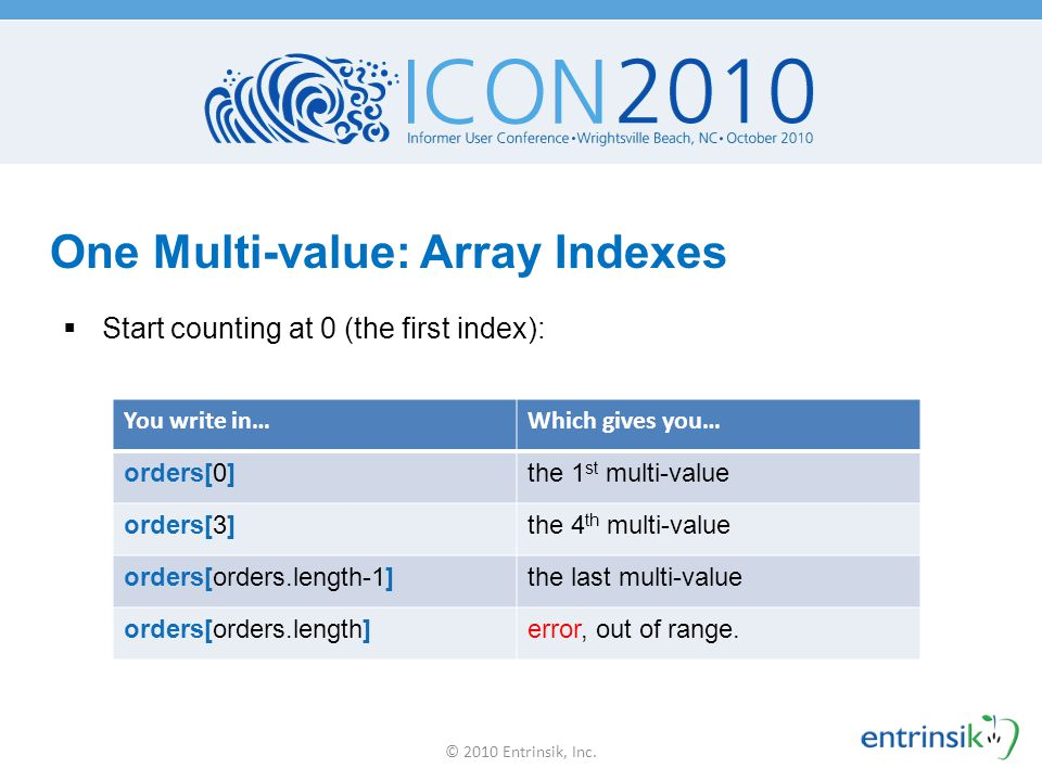 One Multi-value: Array Indexes
