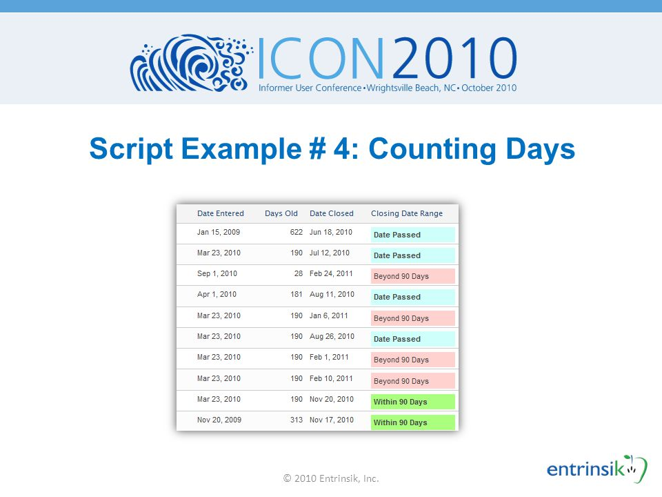 Script Example # 4: Counting Days