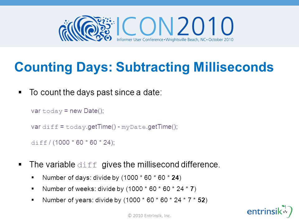 Counting Days: Subtracting Milliseconds