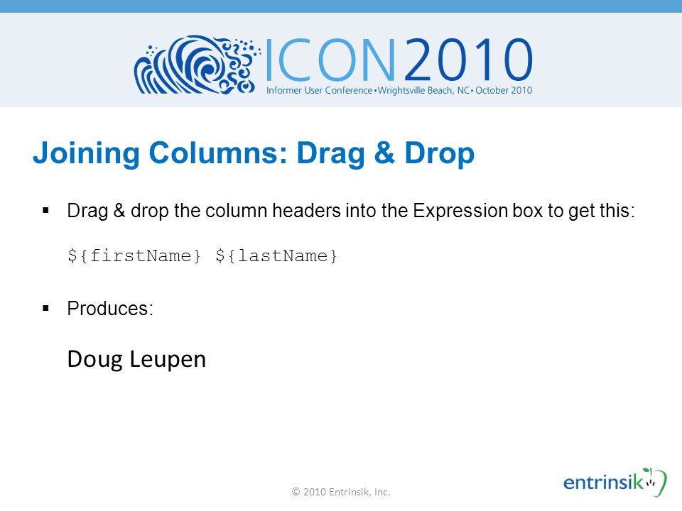 Joining Columns: Drag & Drop