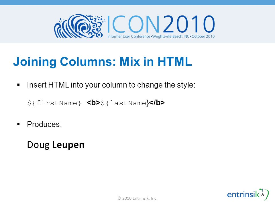 Joining Columns: Mix in HTML