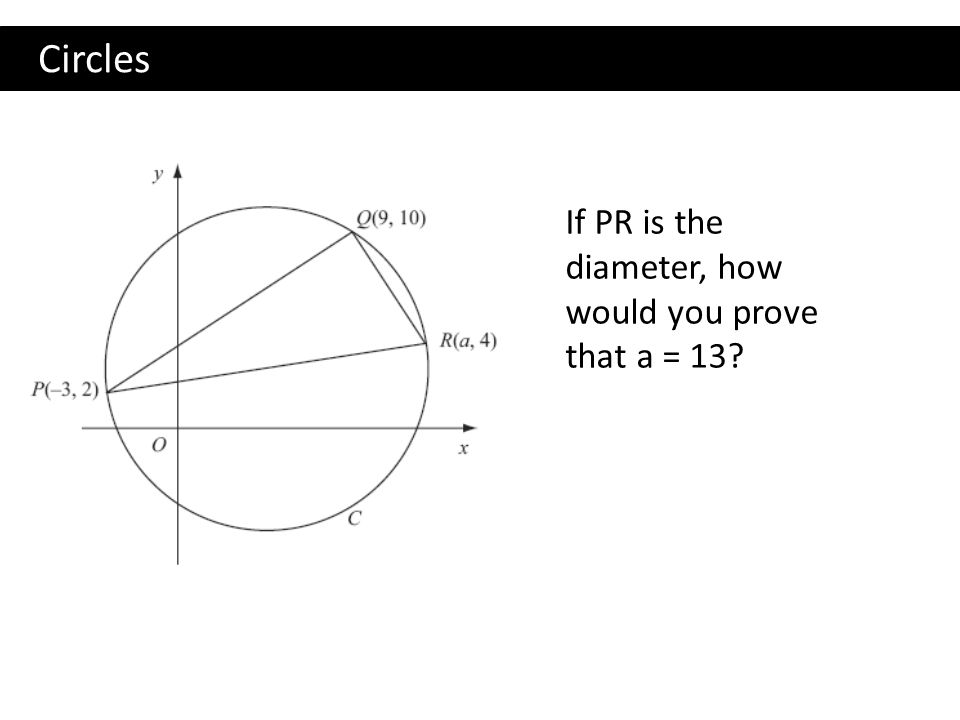 Circles If PR is the diameter, how would you prove that a = 13