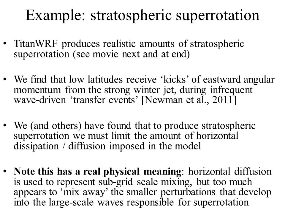 Example: stratospheric superrotation